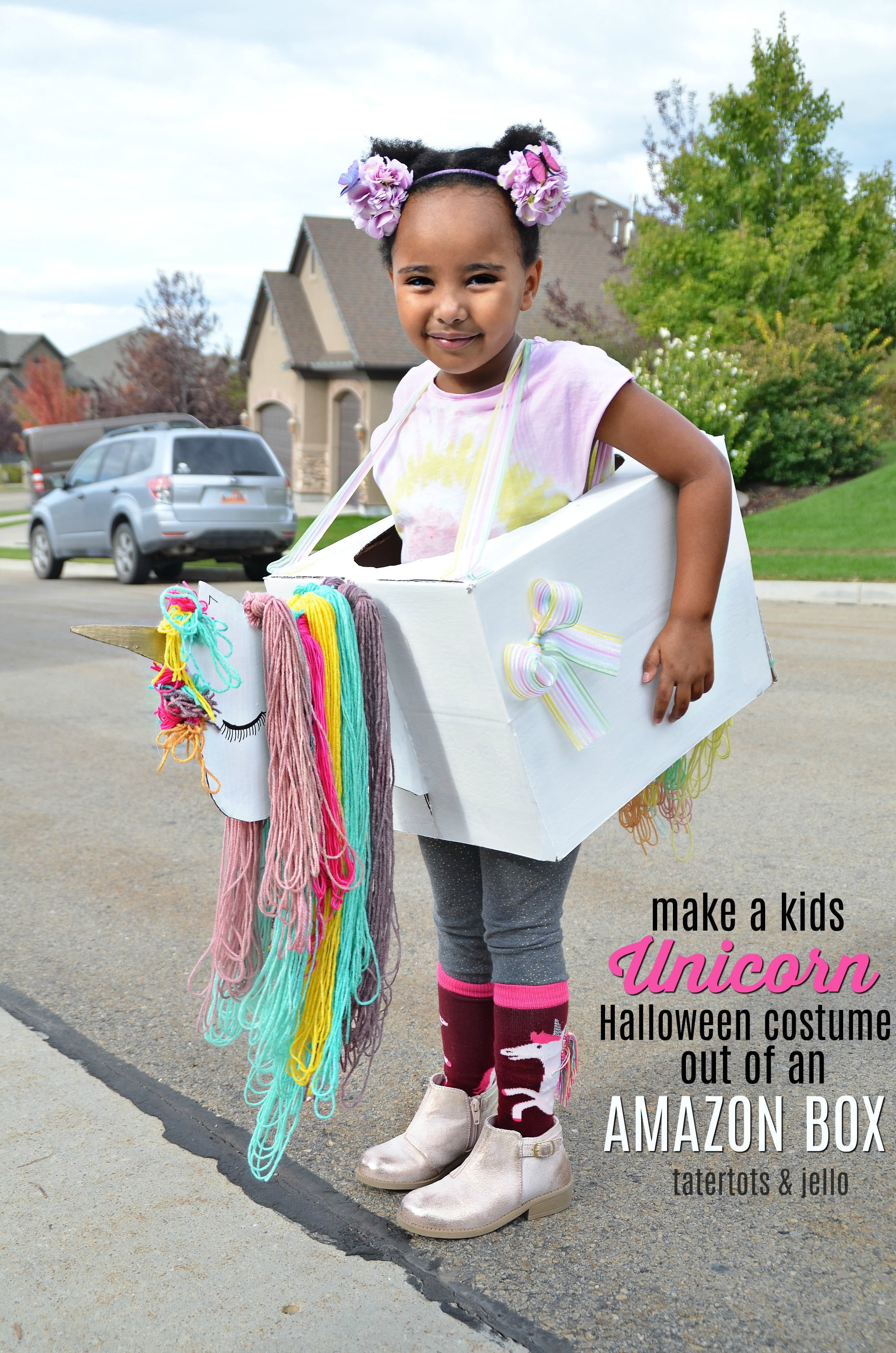Make a Kids Unicorn Halloween Costume out of an Amazon Box! You can create so  sc 1 st  Tatertots and Jello & Kids Unicorn Halloween Costume Out of Amazon Smile Boxes - with free ...
