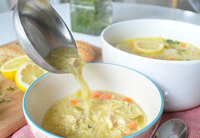 Creamy Lemon Chicken Orzo Soup with a Kick!