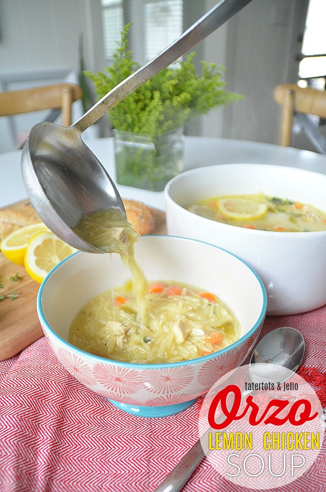 Creamy Lemon Chicken Orzo Soup with a Kick is an easy soup to make with a light, satisfying flavor. The peppers in the soup add just a tiny bit of kick to the taste. It's the perfect soup to celebrate the transition of summer going into fall with fresh lemon, Anaheim peppers, garlic, fresh  herbs and the satisfying taste of orzo to give it a hearty base.