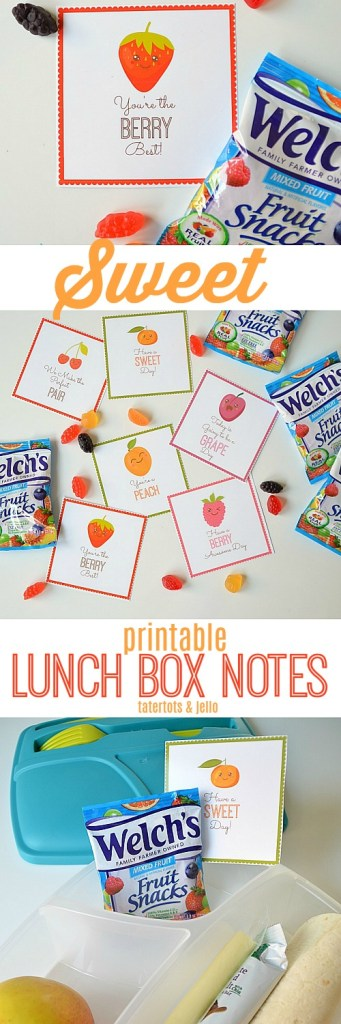 SWEET Printable Lunch Box Notes. Print out these little notes and add them to your kids lunches for a SWEET unexpected note they will love during the day!