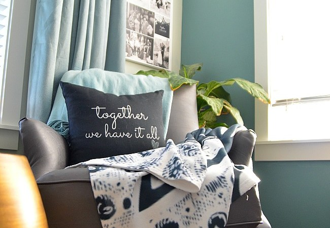Cozy-ing up our Bedroom Nook — Creating Custom Art, Pillows and Blankets!