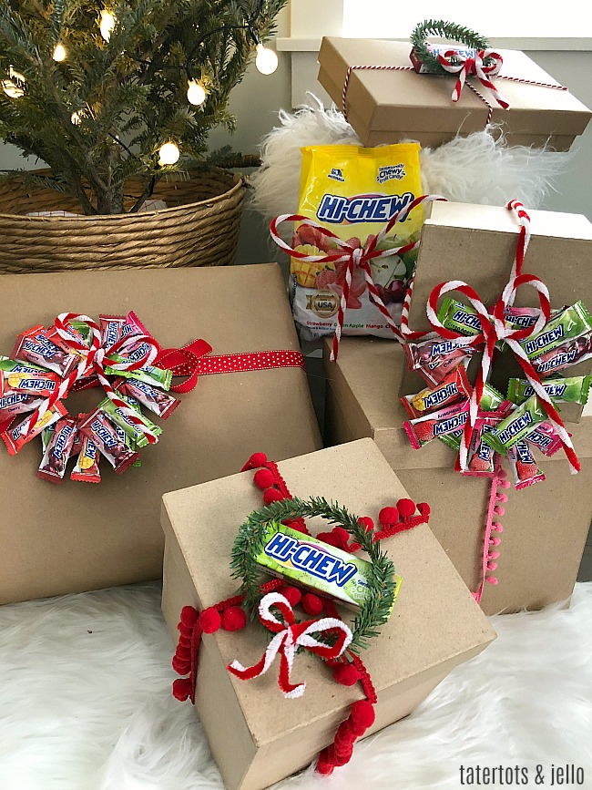 DIY HI-CHEW Gift Toppers a bright = SWEET way to dress up gifts!