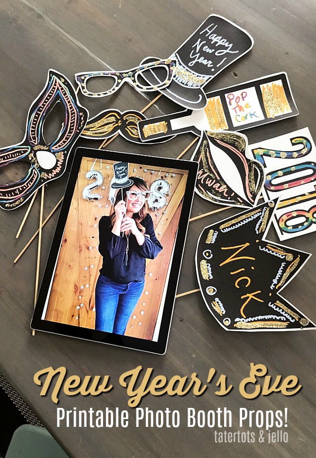 new years eve photo booth free printables print them off and use the surface to