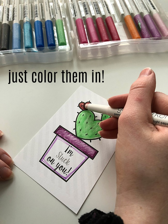 Kids Coloring Cactus Valentine's Day Printable Tags + Magentic Putty = A Delightful Valentine's Day Gift!