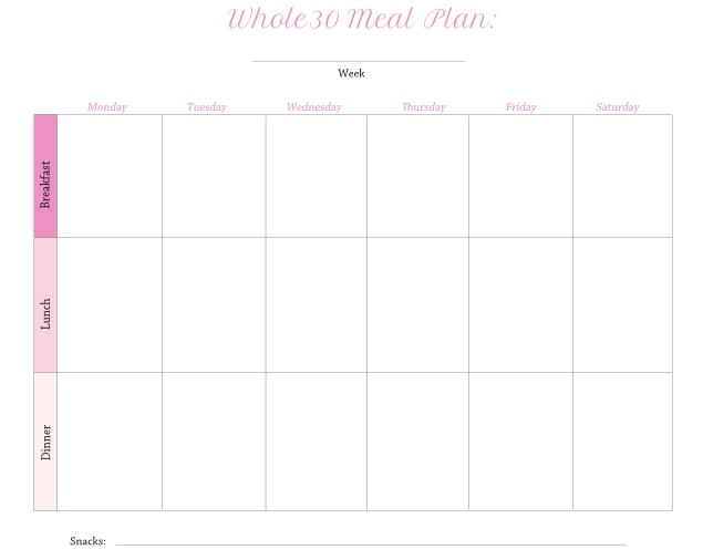 whole 30 printable meal plan