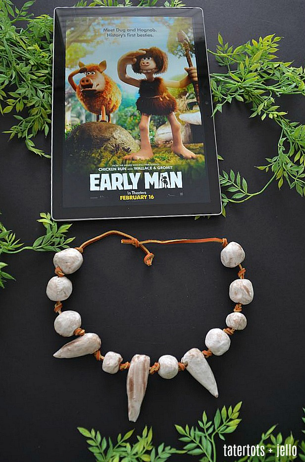 Kids Craft - Make a Clay Caveman Necklace. It's fun to make and wear!