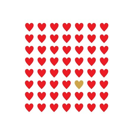 red hearts with gold heart printable