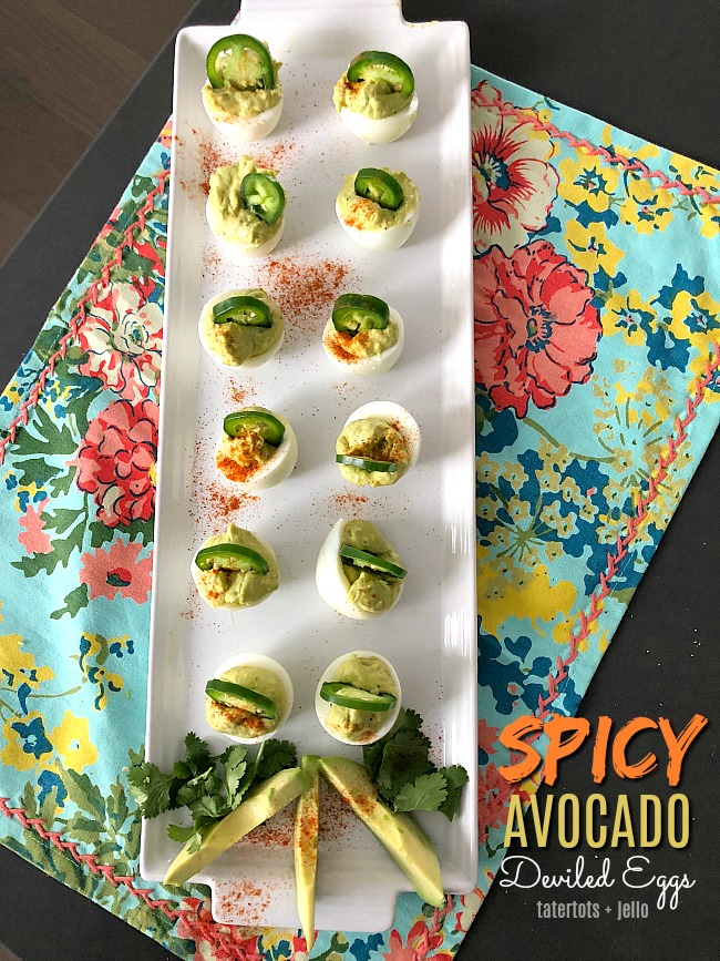 Spicy Avocado Eggs are a zesty twist on traditional deviled eggs. Filled with creamy avocado and egg yolks, plus spiced and topped with sliced jalapenos, these eggs will be the star of your spring brunch!