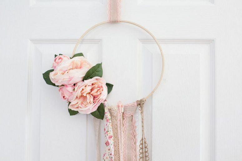 modern hoop boho wreath