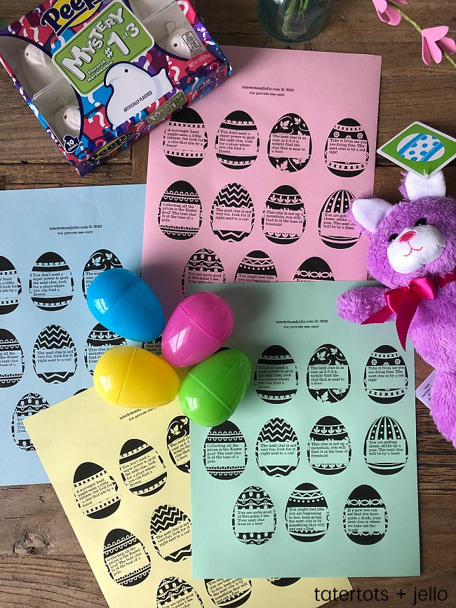 graphic regarding Printable Easter Egg Hunt Clues referred to as Young children Out of doors Easter Scavenger Hunt with Printable Clues!