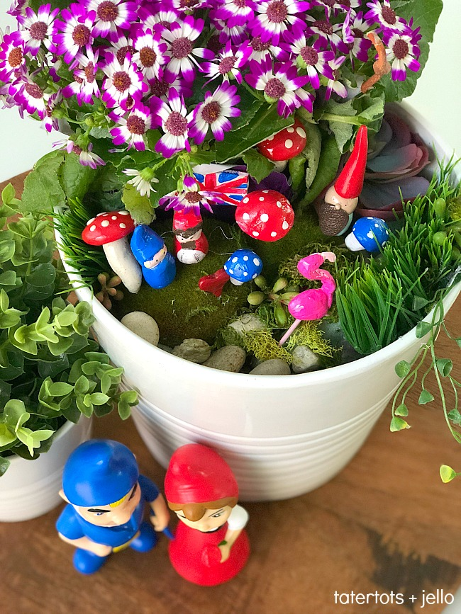 Kids Carft - Make a DIY Fairy Gnome Garden. Kids will love making figures out of clay and creating a whimsical garden!