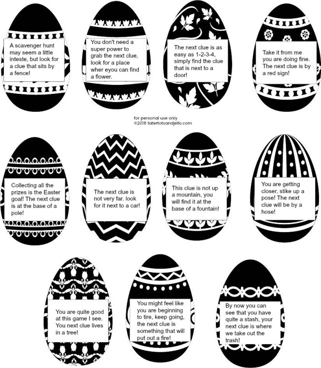 Easter outdoor scavenger hunt with free printable clues and tags