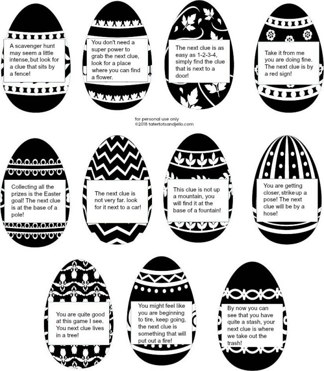 Easter Egg Scavenger Hunt free printable clues