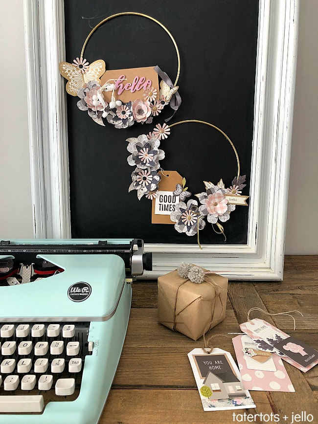 Paper Flower Hoop Wreaths - make paper flowers and add a tag for a personalized wreath for your home!