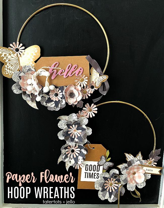 Paper flower hoop wreaths modern and so pretty mightylinksfo