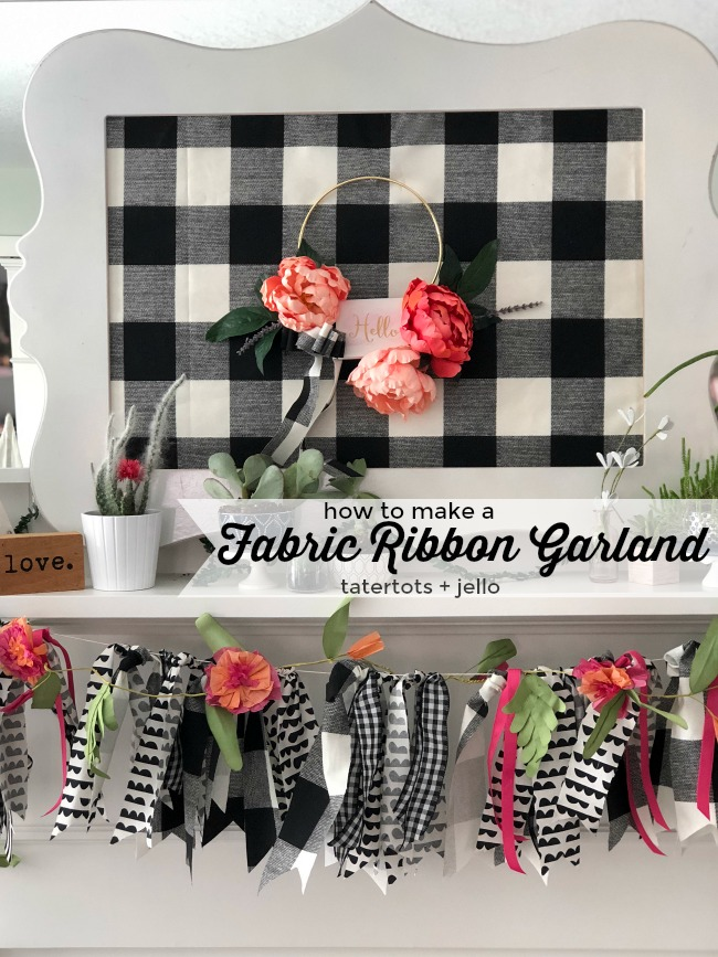 How to make a fabric ribbon garland. Use leftover fabric to create a garland for ANY occasion. No sewing is required and it's a festive way to decorate!
