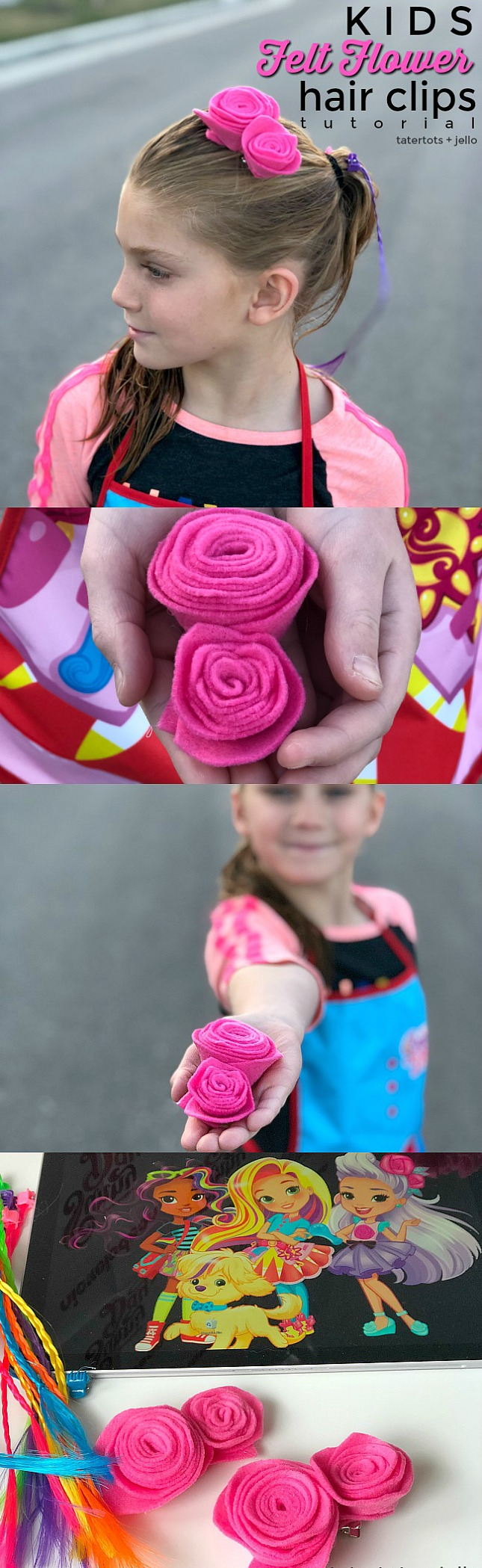 Kids craft Felt Flower Hair Clips. Kids will love making these pretty flower hair clips based on the NickJr Sunny Day animated series. Watch Sunny Day weekdays on Nickelodeon! #ad #nickelodeon #nickjr #sunnyday #hairclips #feltflowers #kidscraft #hairtutorial #craftidea