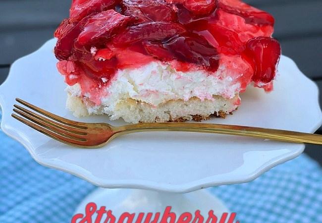 The BEST Fresh Strawberry Cream Cheese Cake Recipe!