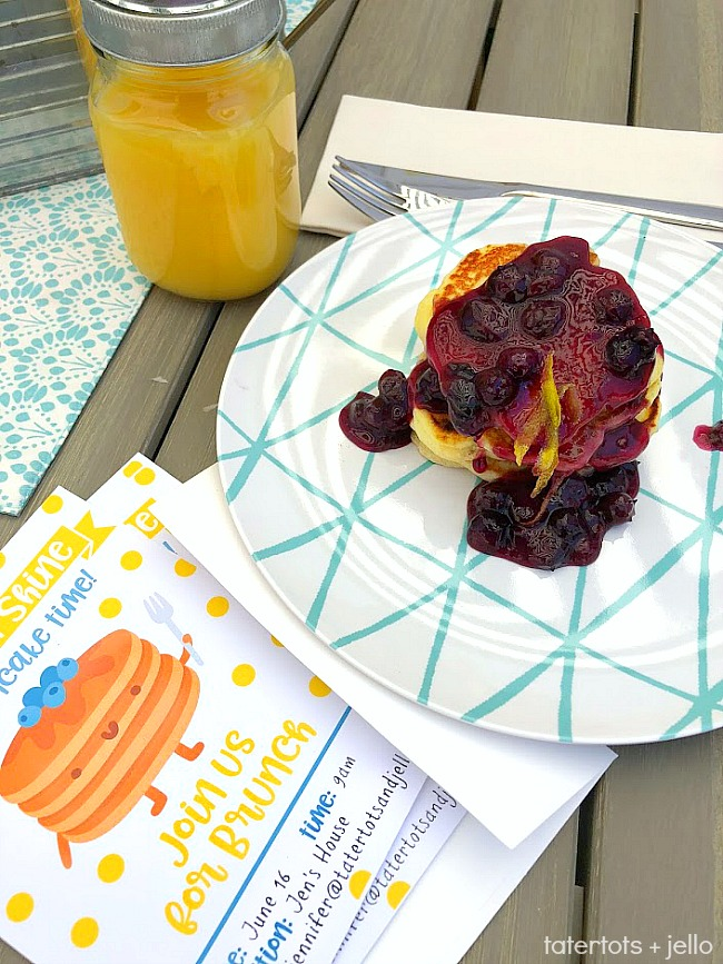 Throw a Kids' Pancake Party + Lemon Ricotta Pancakes with Homemade Blueberry Sauce! Celebrate summer by cooking up these delicious Lemon Ricotta Pancakes with Homemade Blueberry Sauce. Grab the recipe and printable party invitations, posters and banner. It's the perfect kids' birthday or Summer party idea!