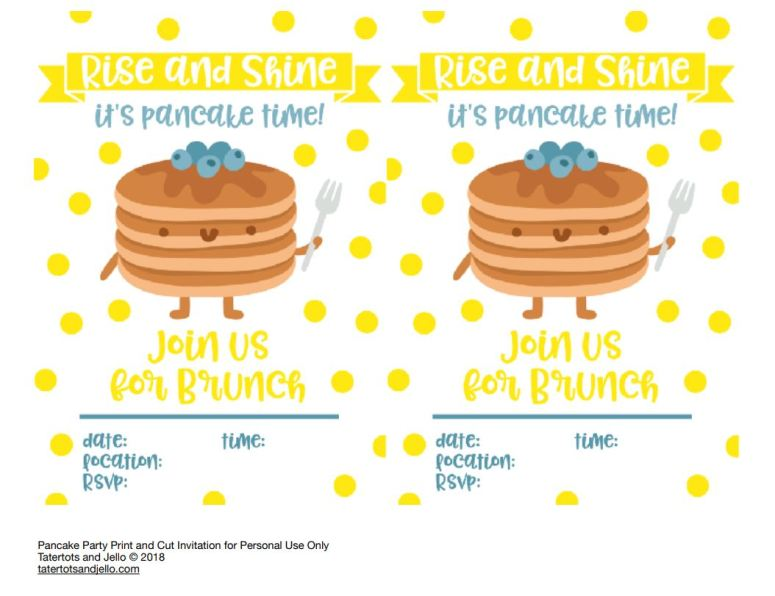 pancake party invitation image