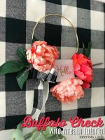 Make a Peony Buffalo Check Hoop Wreath