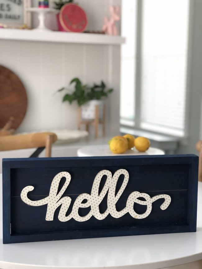 Brighten up your home with Hello Word Art. All you need is a frame, a word and some pretty paper! Hang it on a wall, put it on a shelf or mantel!