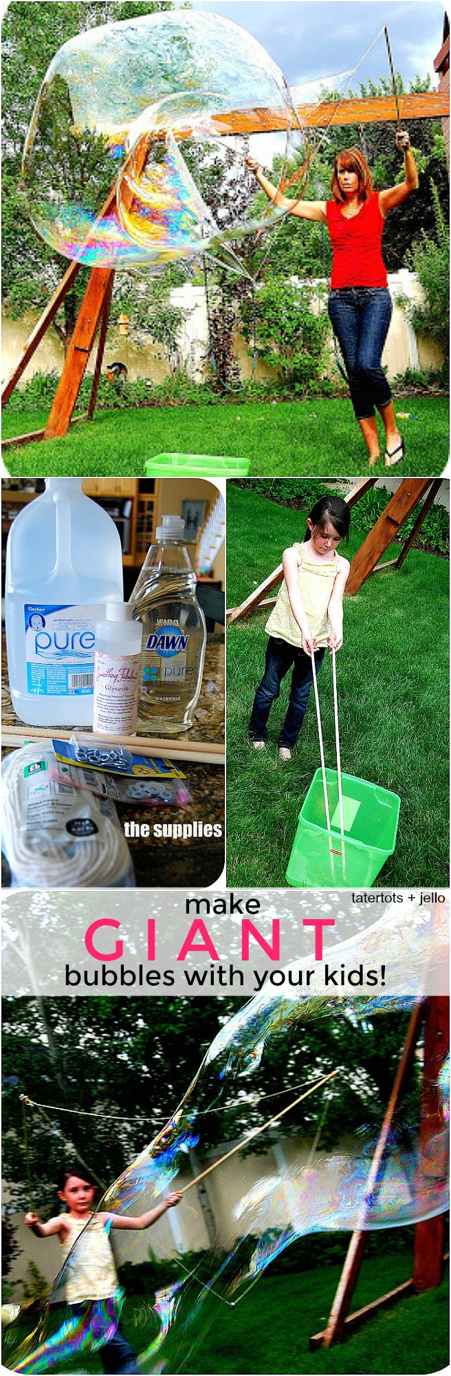 How to Make Giant Bubbles - it only takes a few ingredients!
