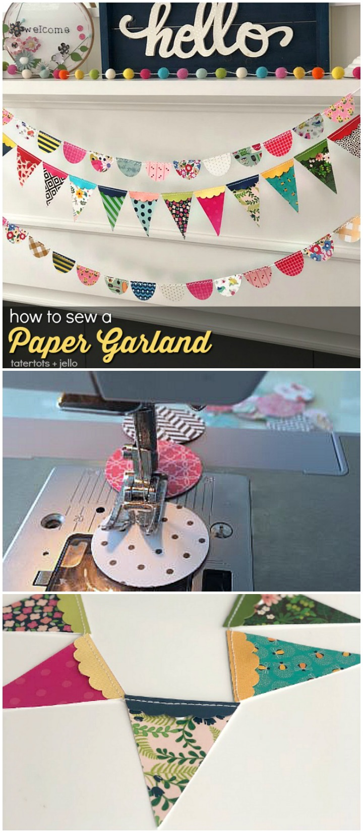 How to sew a paper garland. It's an easy way to decorate for ANY occasion. In just minutes you can have the perfect compliment to your decor or occasion!