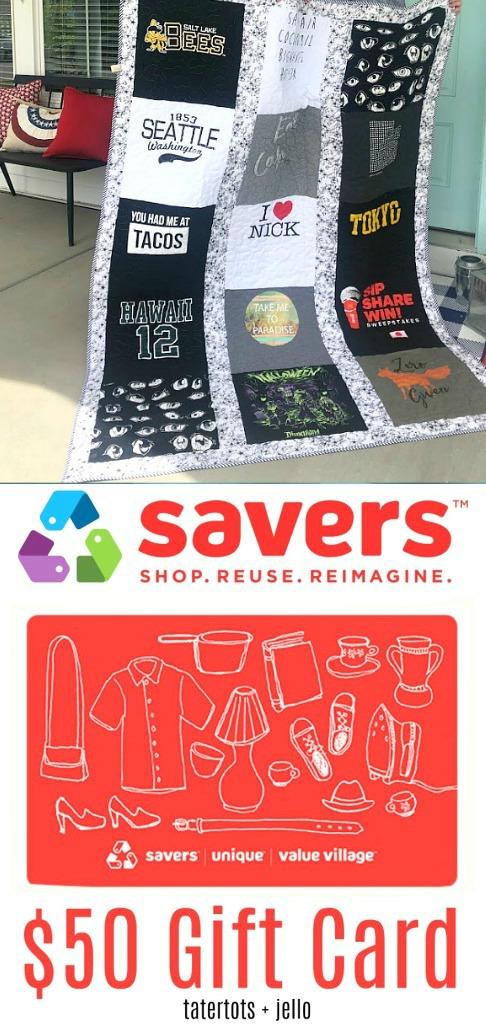 Win $50 from savers to make your own t-shirt quilt!