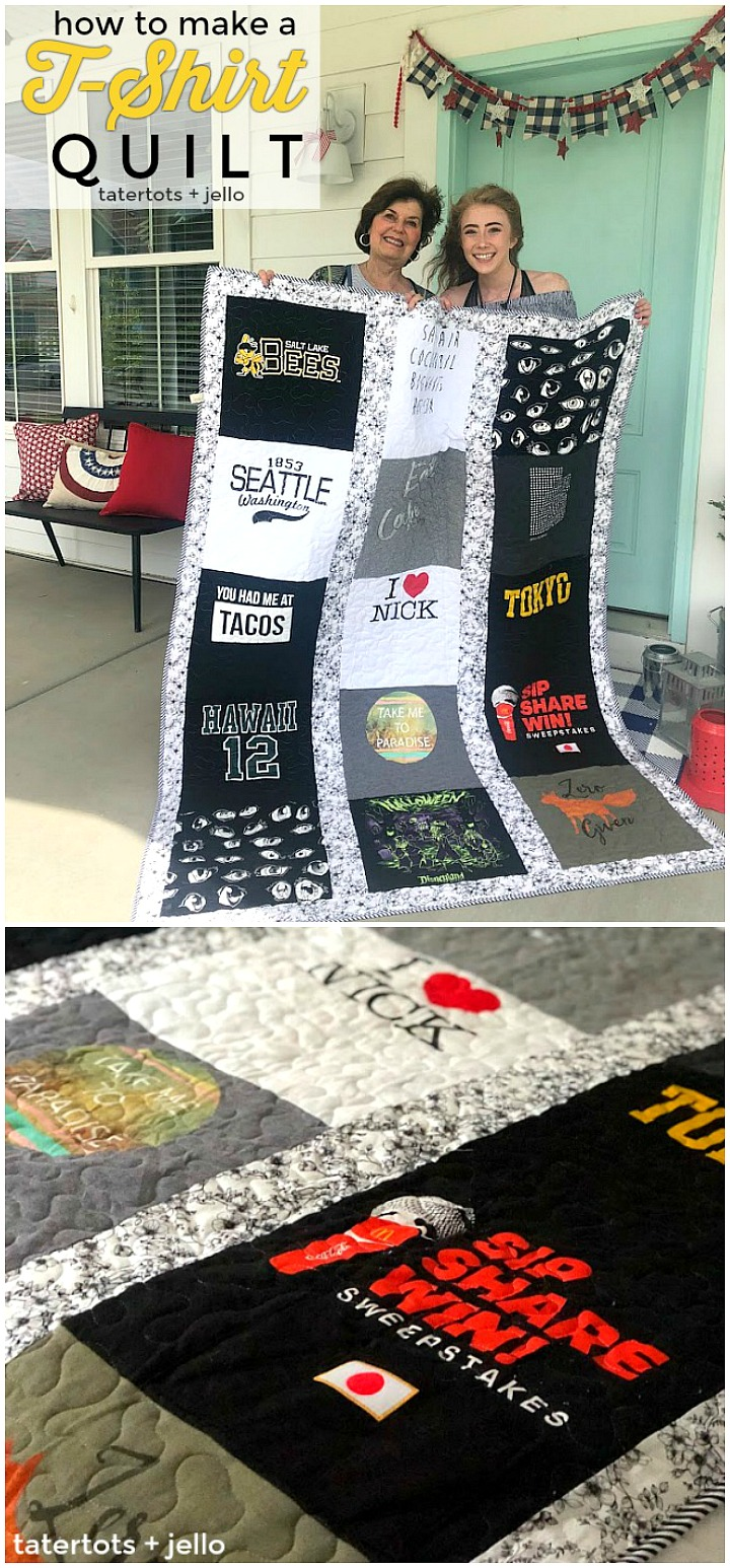 Take treasured t-shirts and supplement them with thrifted shirts with meaningful places, logos or sayings for a quilt that will be treasured always. It is a fun craft to make with a teen or tween or give as a gift!