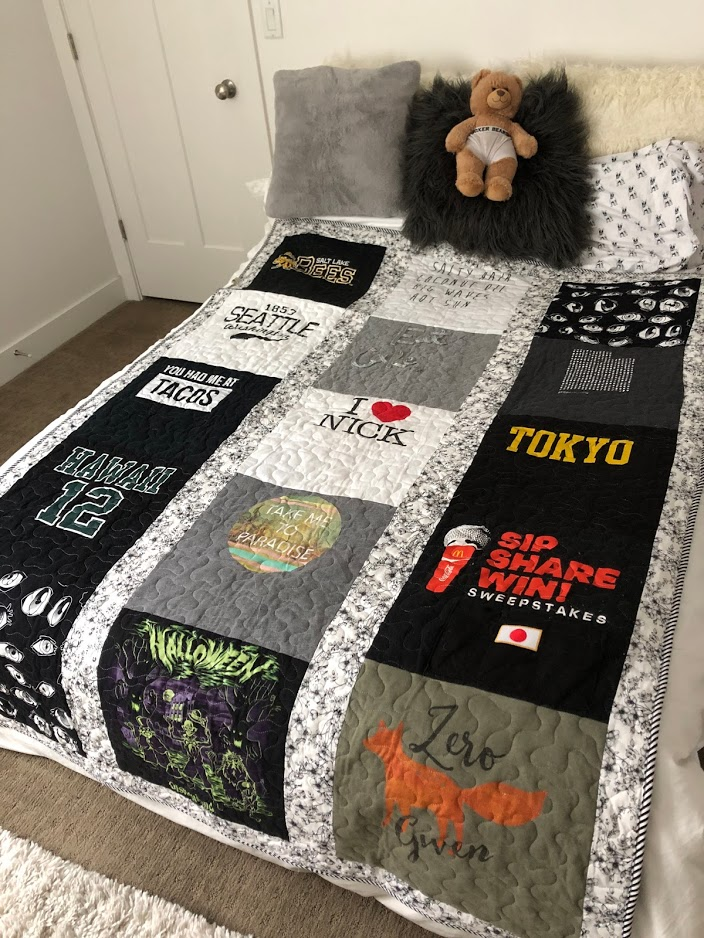 How to Make a T-Shirt Quilt!Take treasured t-shirts and supplement them with thrifted shirts with meaningful places, logos or sayings for a quilt that will be treasured always. It is a fun craft to make with a teen or tween or give as a gift!