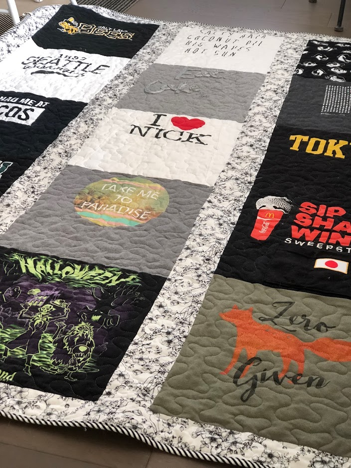 How to Make a T-Shirt Quilt. Take treasured t-shirts and supplement them with thrifted shirts with meaningful places, logos or sayings for a quilt that will be treasured always. It is a fun craft to make with a teen or tween or give as a gift!