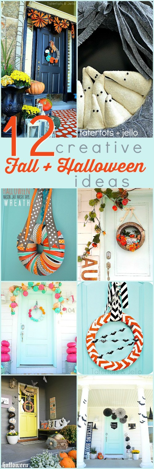 12 Creative Fall Wreath and Porch Ideas! Welcome guests to your home with these festive fall wreath and porch ideas. Easy, inexpensive ways to dress your home up for Fall and Halloween!