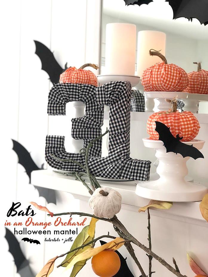 Halloween Bats in an Orchard Mantel