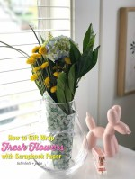 How to Gift Wrap Fresh Flowers with Scrapbook Paper!