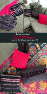 How to Make Fall Pillows out of Thrifted Sweaters!