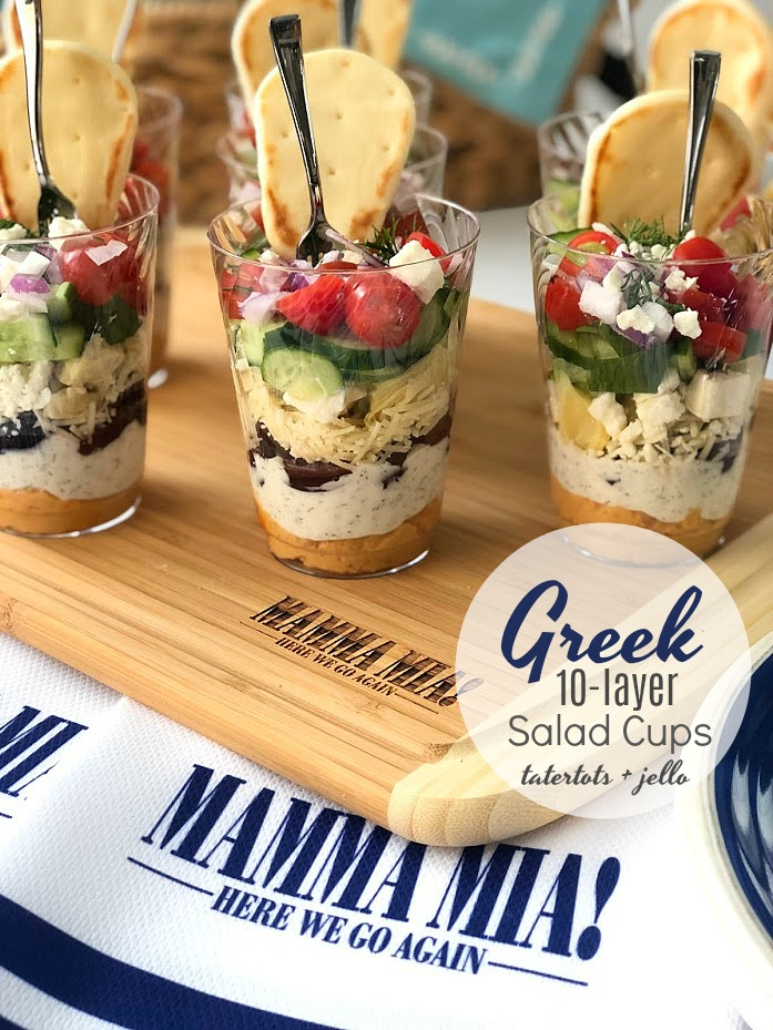 Greek 10-Layer Salad Mini Cups are the perfect appetizer for any party! Full of delightful layers of creamy, spicy and crunchy layers, this 10-layer dip will be the unforgettable!