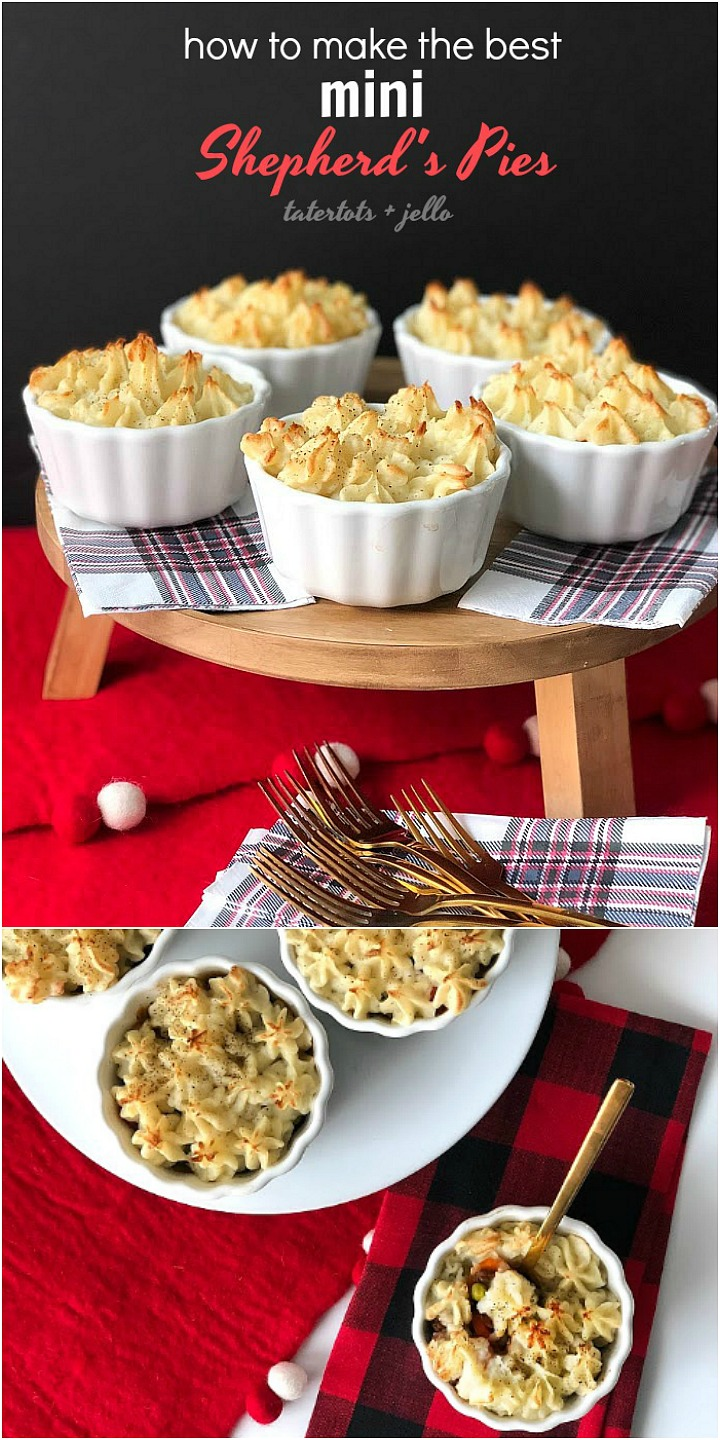 How to make the BEST mini shepherd's pies. Shepherd's Pies are the perfect fall and winter food. Layers of savory meat, veggies and sauce are topped with peaks of creamy mashed potatoes. Make them in individual bowls for a beautiful presentation.