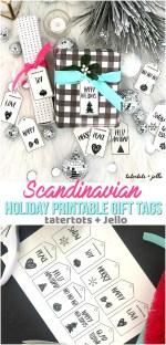 10 étiquettes imprimables de vacances en noir et blanc de style scandinave