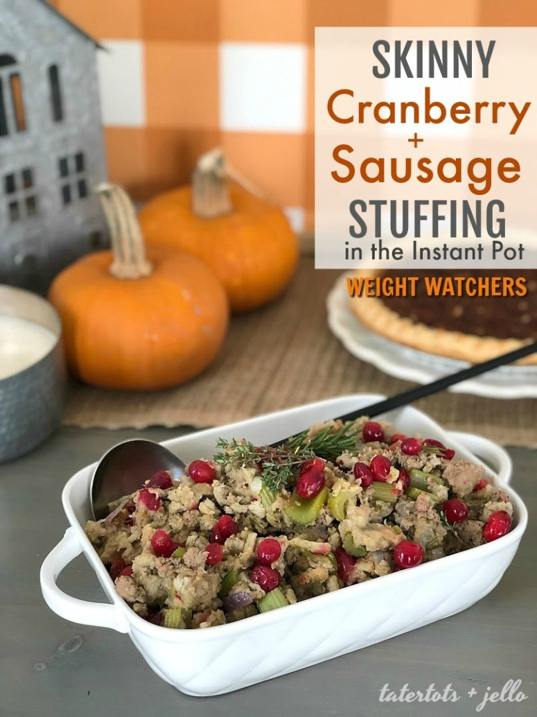 Weight Watchers Cranberry and Sausage Stuffing in the Instant Pot. Tart cranberries and savory turkey sausage combine to create a delicious lighter stuffing. You can make it in your instant pot in under an hour.