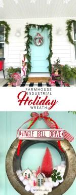 Farmhouse Industrial Holiday Snowball Wreath