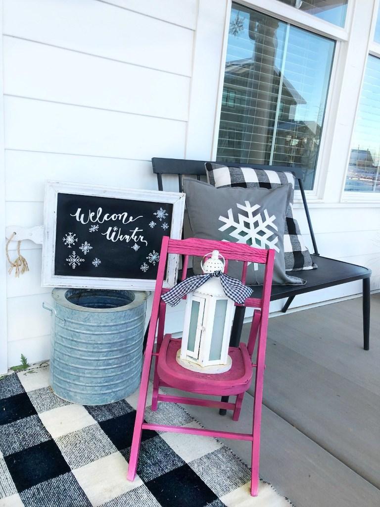 porche d'hiver flocon de neige