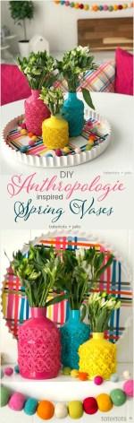 Anthropologie-Inspired Colorful Spring Vases DIY
