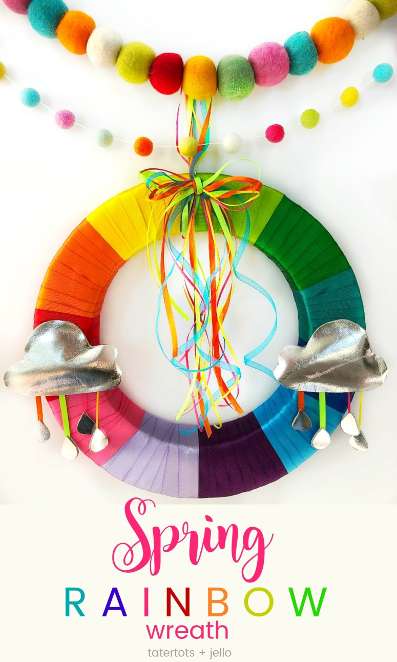 Make a Colorful Rainbow Wreath for Spring with templates! Brighten up your home with a bright ribbon rainbow wreath. It's easy to make with free templates to create the clouds and raindrops and a wreath you will enjoy for years to come!