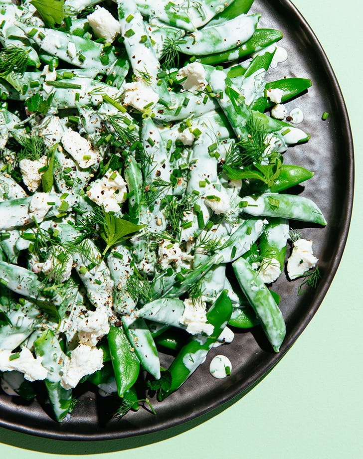 sugar snap pea salad with chevre ranch