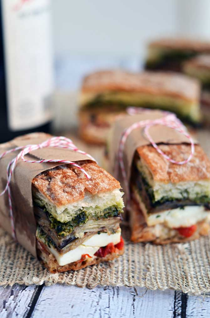 Eggplant, Prosciutto, and Pestro Pressed Picnic Sandwiches @ Host The Toast