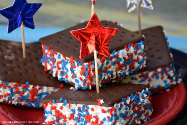 Patriotic Ice Cream Sandwiches @ Pink Polka Dot Creations