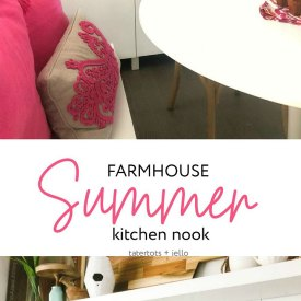 Colorful Summer Farmhouse Kitchen Nook. Turn a corner of your kitchen into a colorful nook with bright summer elements, pillows and a DIY Summer banner!