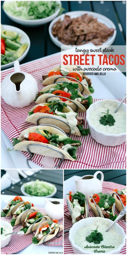 angy Sweet Steak Street Tacos with Avocado Cilantro Crema. Combine the sweetness of honey with tangy steak and a creamy Mexican sour cream crema avocado cilantro sauce in these delicious street tacos.