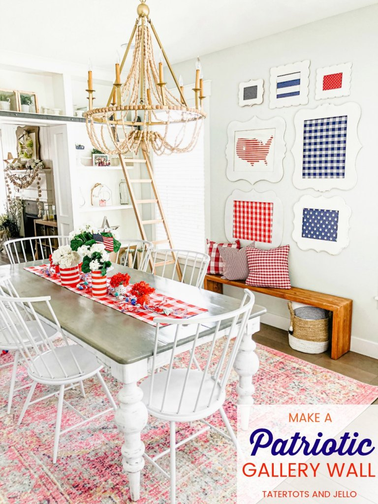 Fourth of July red white and blue gallery wall DIY. Show off red white and blue fabrics in thrifted frames to create a festive statement wall in any room in your home!